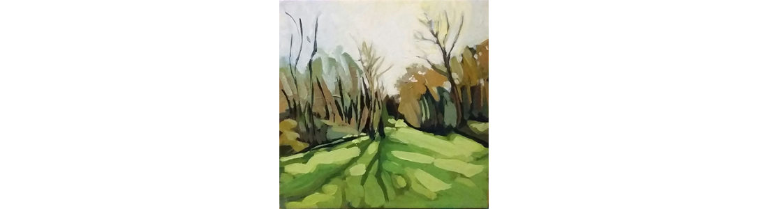 "Leni Paquet Morante - Shippetauken Woods, Evening Light, 8"" x 8"", Acrylic on Panel, sold"
