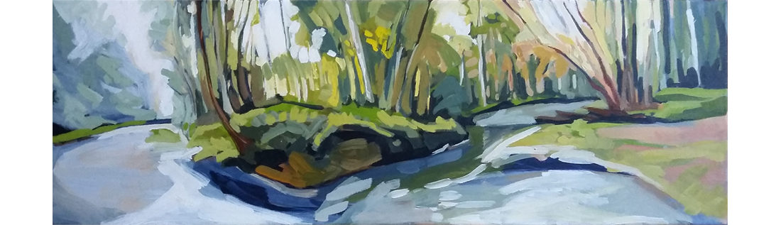 "Leni Paquet Morante - Summer Haze, 10"" x 30"", Acrylic on Canvas, Sold"